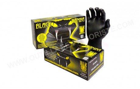Gants BLACK MAMBA BLK Nitrile non poudré Noir Multi Taille de 6 à 12 x100 Présentation